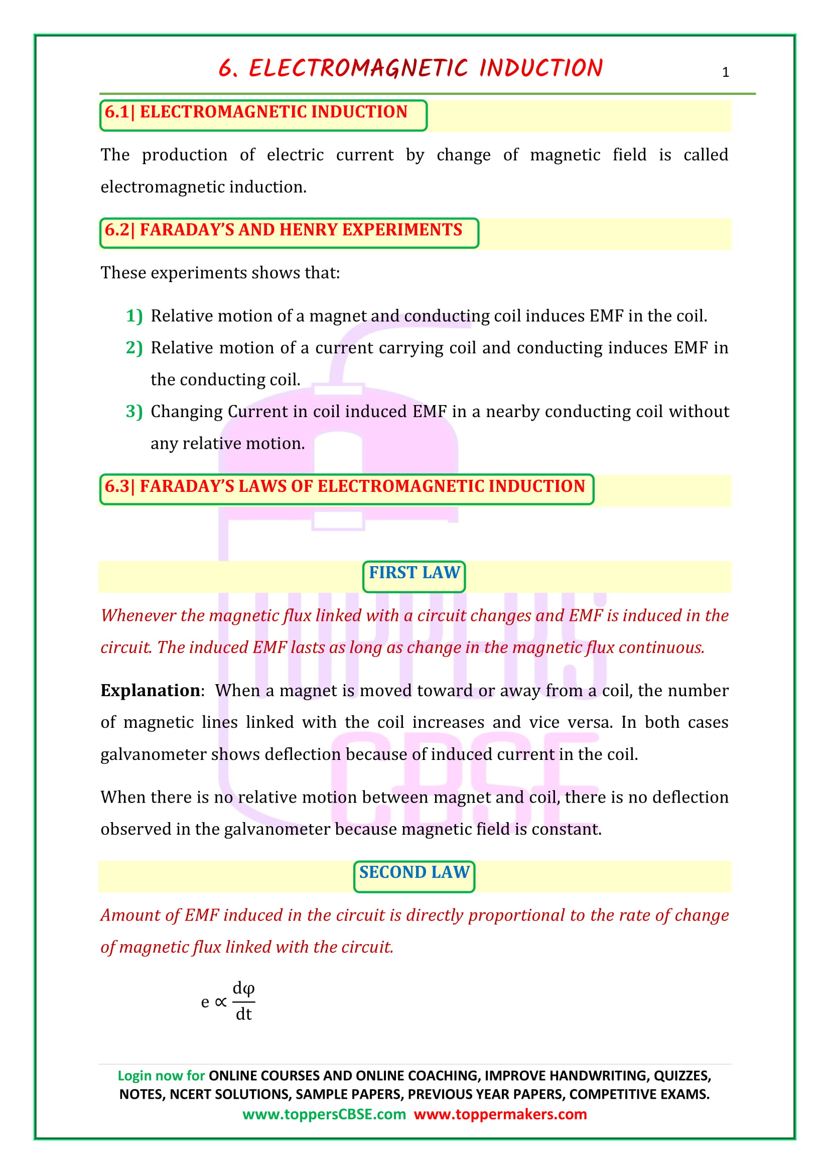 cbse class 12 physics notes chapter 6 notes