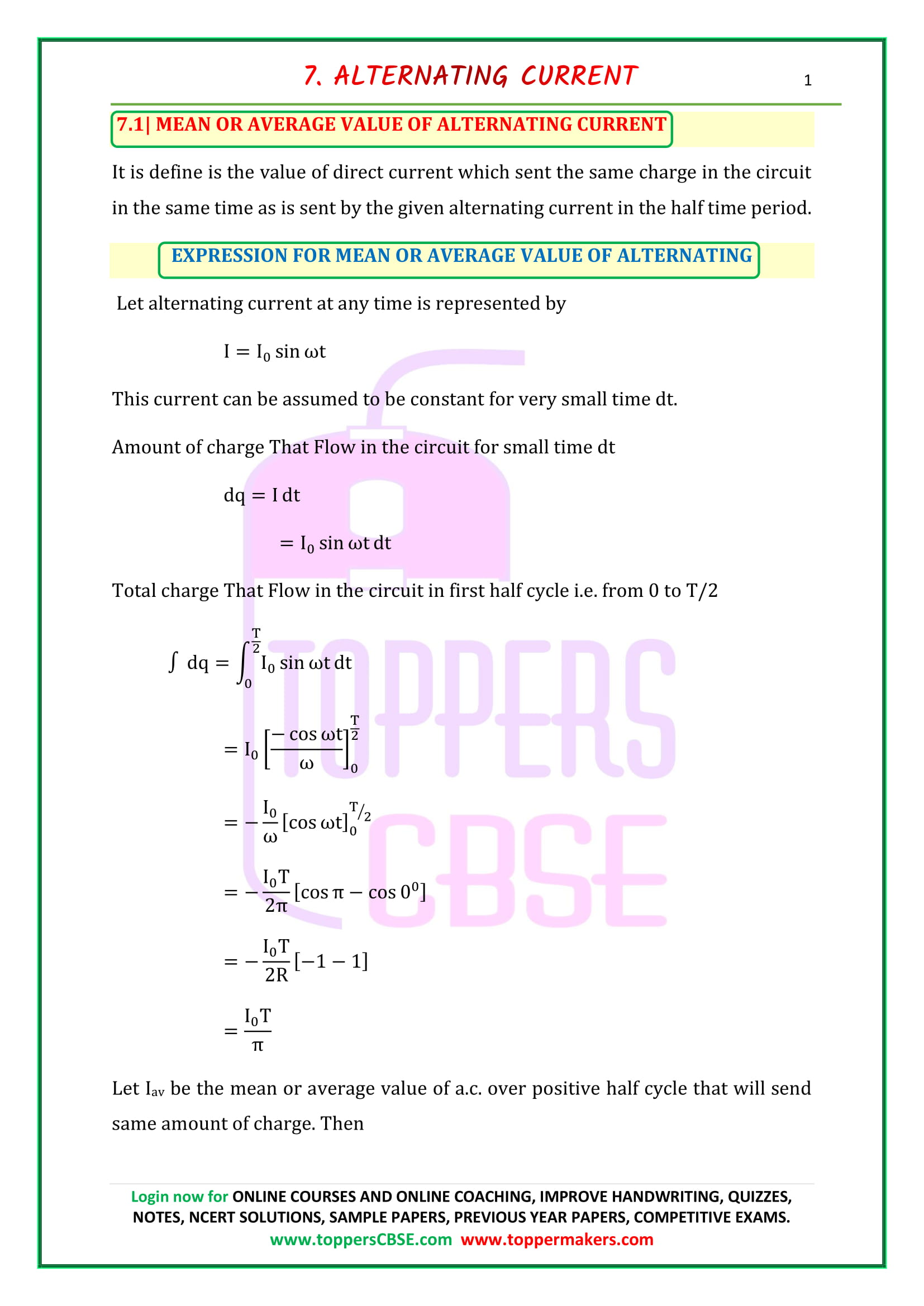 cbse class 12 physics notes chapter 7